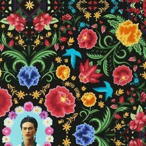 Frida Kahlo Floral Cotton Fabric (AULD-19611-2-Black)  from Robert Kaufman BTY