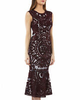 JS Collections Sleeveless Embroidered Soutache Midi Dress with Flounce Size 8