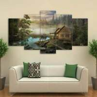 Multi Panel Print Cabin on the Lake Canvas Wall Art Mountain Country 5 Piece