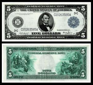 1914 $5  Federal Reserve Large Size Note ~PHILADELPHLA~  ~ EXTRA FINE