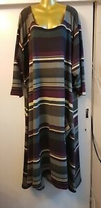 Plus Size 32-34 Gorgeous Winter Jersey Striped full length Maxi Dress Fit 6XL
