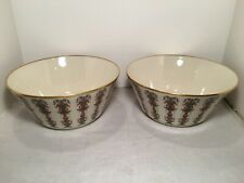Pair Of Lenox Lido Salad Serving Bowls Hand Decorated 24K Gold Rim Usa