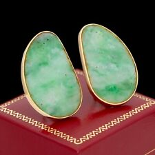 Antique Vintage Deco Retro 14k Gold Chinese Carved Jadeite Jade Cluster Earrings
