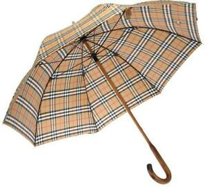 NEW BURBERRY LUXURY RICHMOND CHECK WALKING UMBRELLA W/COVER