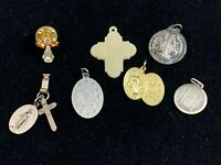 Vintage Catholic Lot St Benedict - Miraculous Medal - Pope Paul VI Sterling