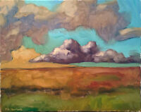 "Cloud Horizon Landscape Sunset Oil Painting Original 16""x20"" Signed"