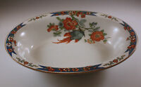ANTIQUE WOOD AND SONS IRONSTONE BIRD OF PARADISE OVAL SERVING BOWL