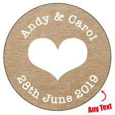 105 x HEART Personalised Wedding Shabby Brown Kraft Effect Favour Stickers  036