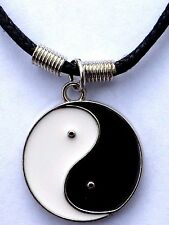 NEW Ying Yang Symbol Silver Tone Round Pendant Black Rope Necklace
