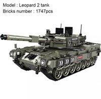 1747Pcs Leopard 2 Main Battle Tank Model Building Blocks Technic Military Gift
