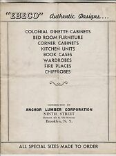 VINTAGE BROCHURE - EBECO AUTHENTIC DESIGNS - ANCHOR LUMBER CORP BROOKLYN NY