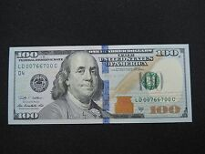 2009 A $100 US DOLLAR BANK NOTE LD 00766700 C RADAR NOTE USD UNC CU STATES D4
