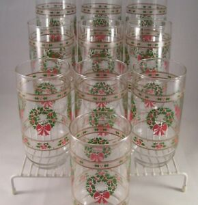 Indiana Glass Victorian Christmas 10 Coolers Tumblers MIB Glassware USA Vintage