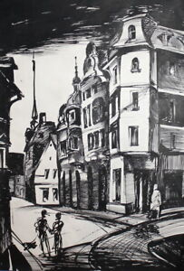 EXPRESSIONIST CITYSCAPE COMPOSITION VINTAGE INK DRAWING