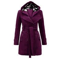 NUOVO donna cappuccio cintura invernale in lana giacca calda Cappotto Donna