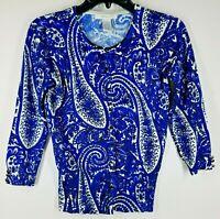Grace Women's Sz Small Cobalt Blue/Paisley 3/4 SL Cardigan Button Down Sweater