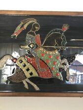 Medieval Knights Original Art Dueling Artwork on Wood Handmade