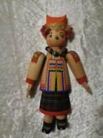 Antiguo Madera Figura/Muñeca - Rusia / Unión Soviética - Hecho a Mano - Um