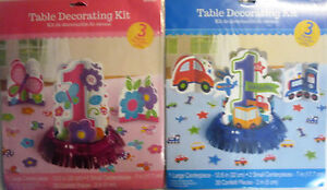 Pink or Blue 3 Piece Happy 1st Birthday Party Table Decoration Kit
