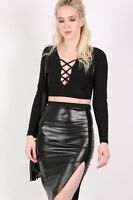 PILOT® Slinky Lace Up Long Sleeve Crop Top in Black