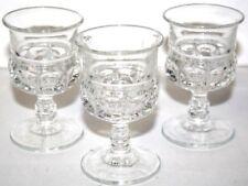 Three (3) Cordial Port Liqueur Pedestal Stemmed Cut Side 3.5 Inch Tall Glasses