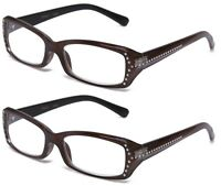 Readers 2 Pack Rhinestone Frame Reading Glasses Style Design Purple & Brown