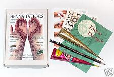 ORGANIC henné tatuaggio KIT in scatola regalo + ORO GLITTER GEL + GRATIS ORO trasferimenti JJ