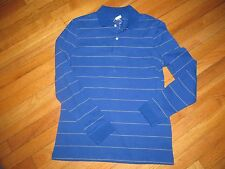 Men's St John's Bay Blue W/Gray Stripes Polo Long Sleeve Shirt Size S NWOT