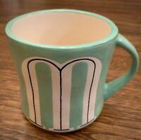 "Anthropologie Colorway Hand Painted ""M"" Monogram Coffee Mug Cup Teal Green Color"