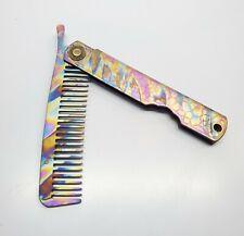 Anodized Titanium EDC Comb Hair Beard, Folding portable Rainbow Camo