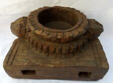Indian Antique Hand Carved Wooden Spice Salt Container Bowl