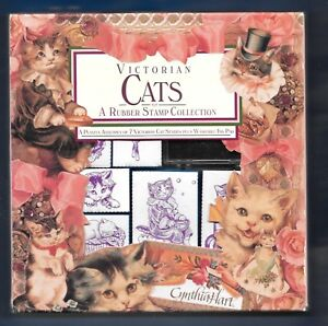 VICTORIAN CATS Collection 7 Stamp Set RUBBER STAMPEDE Hart Foam Mounts KITTENS