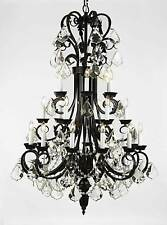 24 LIGHT LARGE WROUGHT IRON CRYSTAL CHANDELIER LIVING DINING ROOM FOYER KITCHEN