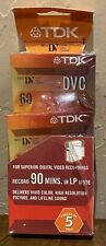 TDK 5 Mini DVC 90 Minute In LP Mode Digital Video Cassette Superior Grade NEW!!!