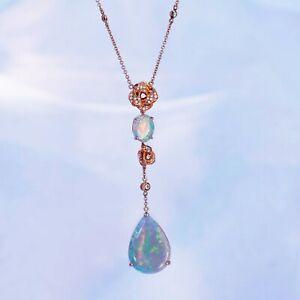 Australia soild opal pendant w/necklace earring ring rose 18K Rose Gold Diamond