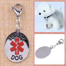 Stainless Steel Medical Alert Service Dog ID Tag Collar Key Chain Animal ESA