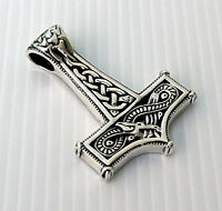 SNAKE & CELTIC KNOT THORS HAMMER 925 STERLING SILVER MENS PENDANT CHAIN NECKLACE