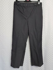 Ladies MAGI SCULPT Trousers Grey Striped Plus Size 16 Short Formal Smart Work