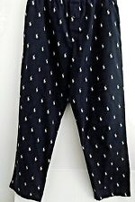 RALPH LAUREN MENS LOUNGE WEAR PANTS IN BLUE AND WHITE POLO PLAYERS & POCKETS L