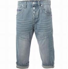 Gio Goi Men's Twisted Carrot Hip Denim Shorts Light Stonewash