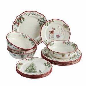 NIB ~Better Homes and Gardens Heritage 12 piece Christmas China Dinnerware Set