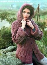 Knitting Pattern Copy LADYS TEXTURED CHUNKY CABLE HOODED JACKET CARDIGAN HOODIE