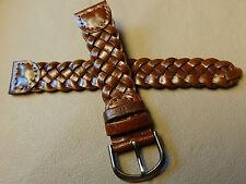 New Mens Brown Western Braided Woven 18mm Watch Band Gun Metal Buckle $8.99