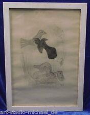 """Marie Pospisilova: """"Vogel"""" Zeichnung, aquarelliert, 1948"""
