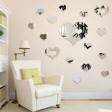 16 Pcs/Set Romantic Love Hearts Decor Home Room Mirror Wall Stickers Decals DIY