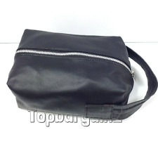 New Mens Toiletry Bag Real Leather Black Travel Wash Bag Overnight Cosmetic Case