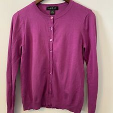August Silk Purple Cardigan Sweater Size M Long Sleeves SOFT B2