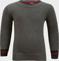 New Boys Smart Grey Crew Neck Cotton Knit Jumper Sweater Top Age 2 - 10
