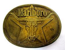 "Marlboro Star Bull Head Solid Brass Belt Buckle 1987 by Phillip Morris 3.25""long"