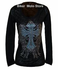 Shirt L Large  -- Women Lady Motorcycle Biker Gothic Long Sleeve Burn Out  Black